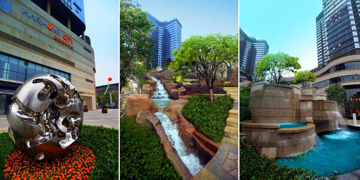 项目荣誉 亚太地区城市综合体典范金奖 亚太地区豪宅典范金奖 Mall China规划创新奖 国内首座国家绿色二星设计标识认证城市综合体项目 国内首座自然生态坡地大型综合体 金鸡湖湖东CBD体量最大的综合体 项目提炼 伍道为这座国际级都市综合体打造了生态、立体、自然的商业体验空间,以交响乐般的韵律缔造层叠起伏的峡谷山林,让东方园林与西方现代空间在融合碰撞之中,彰显新一代商业空间的价值和魅力。 设计理念 项目独创地提出立体景观的概念,以十二星座